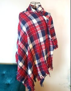 Scarf/shawl red and blue plaid very soft